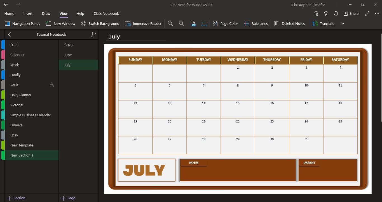 Calendar Template For Onenote from crispdigitals.com